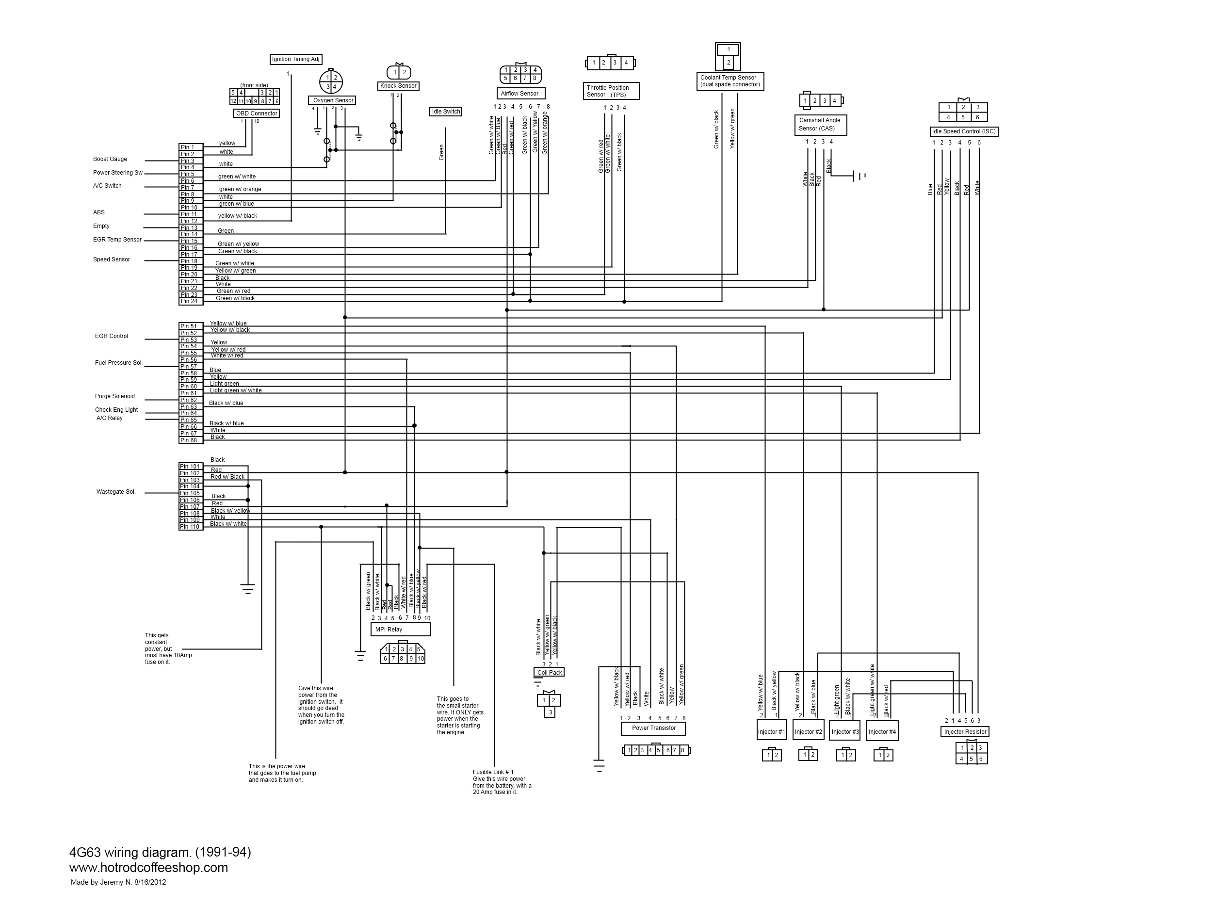 1991-94 DSM 4G63 wiring diagram